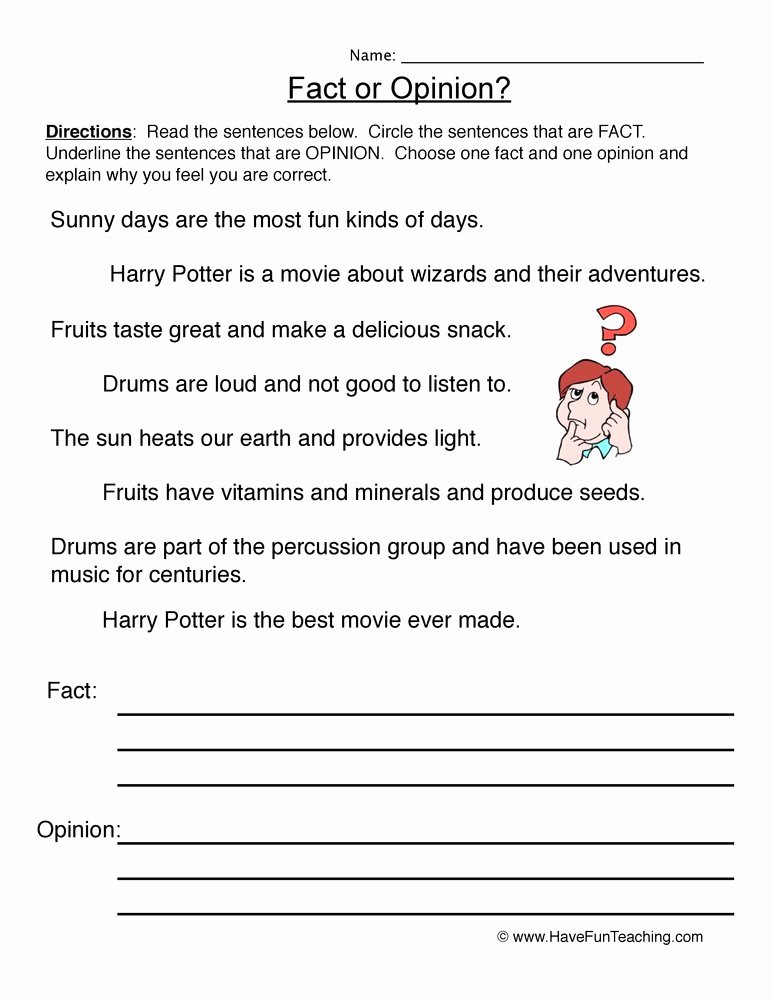 Fact or Opinion Worksheet Lovely Fact and Opinion Worksheets