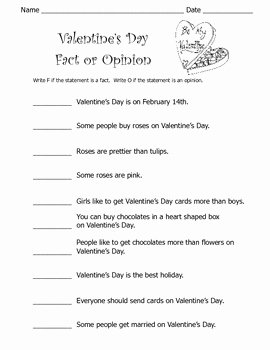 Fact or Opinion Worksheet Lovely Valentine S Day Fact or Opinion Worksheet by Kelly Connors