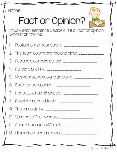 Fact or Opinion Worksheet Unique 11 Best Images About Fact Opinion On Pinterest
