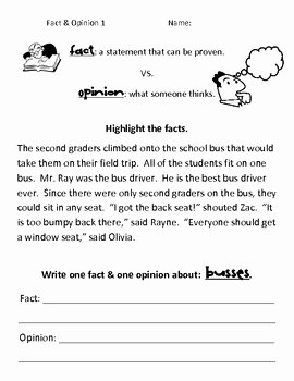 Fact or Opinion Worksheet Unique Simple Fact Vs Opinion Worksheets by Kelly Macdonell