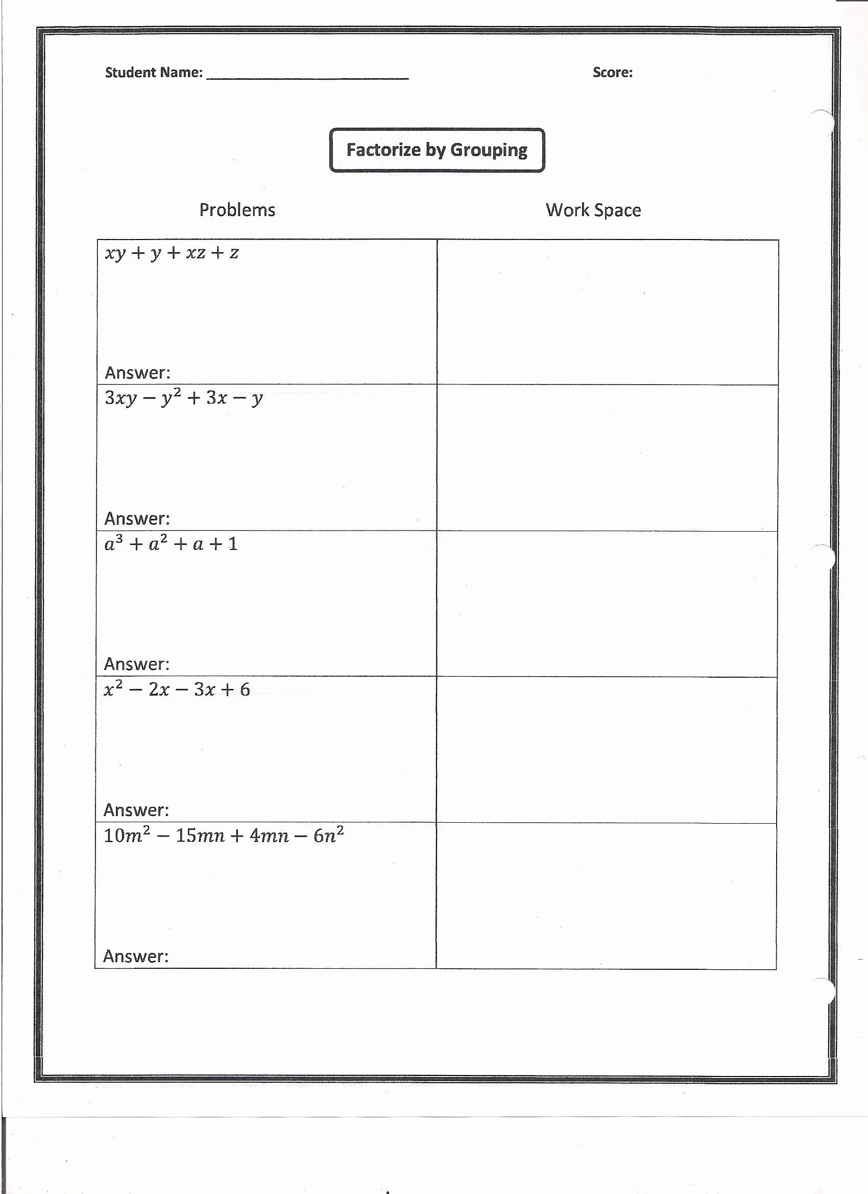 Factor by Grouping Worksheet Beautiful Factoring Homework Worksheet