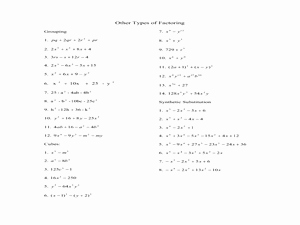 Factor by Grouping Worksheet Best Of Factoring by Grouping Synthetic Substitution and Sums