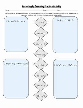Factor by Grouping Worksheet Elegant Factoring by Grouping Practice Activity by Christy Plumley