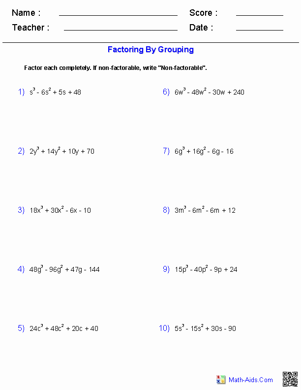 Factor by Grouping Worksheet Inspirational Algebra 2 Worksheets