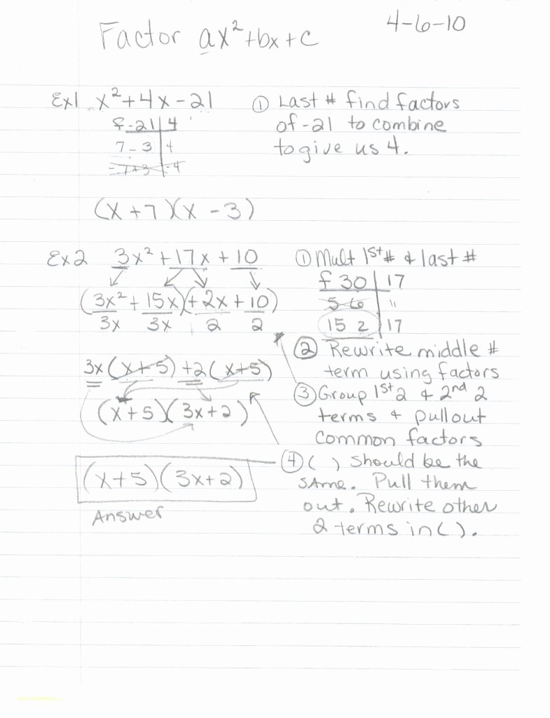 Factoring Ax2 Bx C Worksheet Best Of top 10 Awesome Factoring Ax2 Bx C Worksheet Answers that
