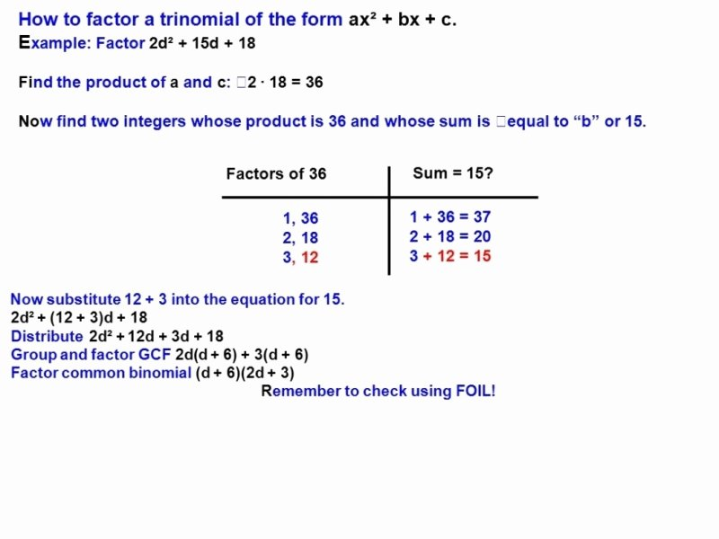 Factoring Ax2 Bx C Worksheet Elegant Factoring Trinomials the form Ax2 Bx C Worksheet