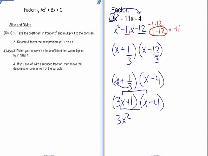 Factoring Ax2 Bx C Worksheet Fresh Factoring Ax2 Bx C Worksheet Answers Free Printable