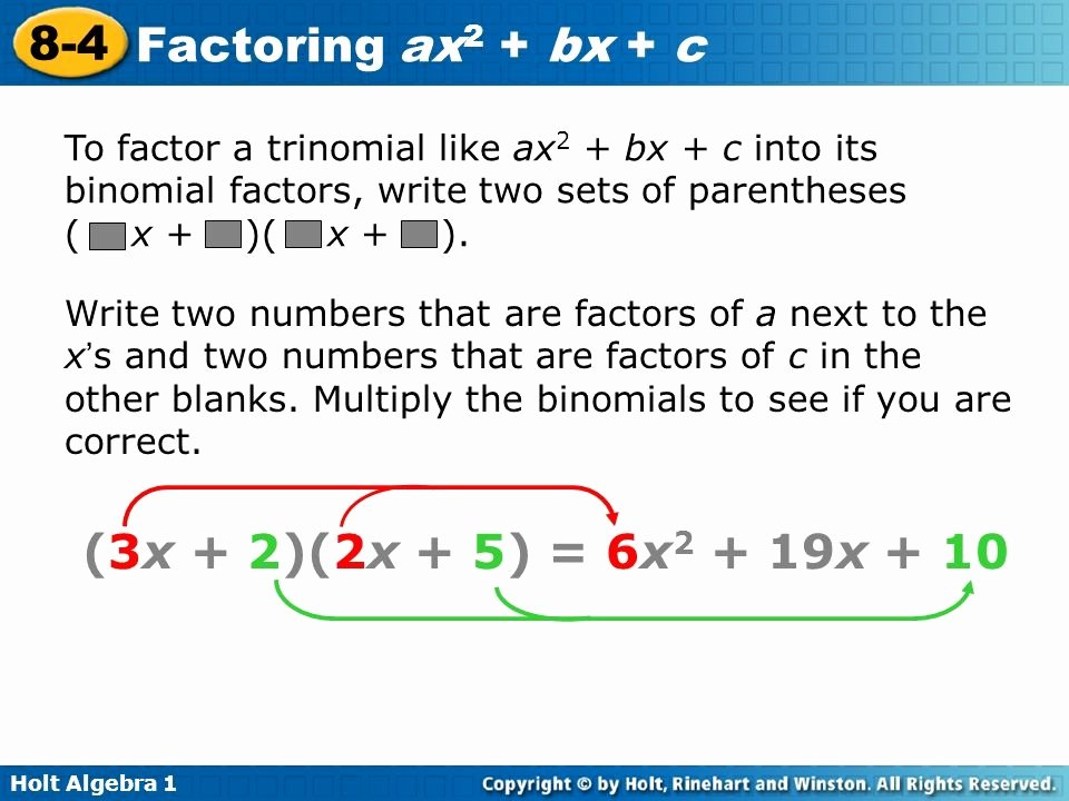 Factoring Ax2 Bx C Worksheet New Factoring Trinomials the form Ax2 Bx C Worksheet the