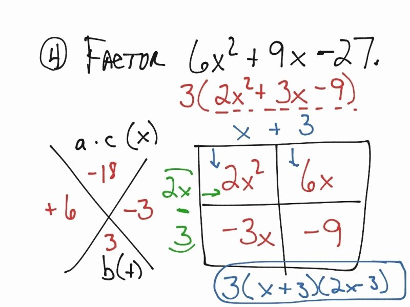 Factoring Ax2 Bx C Worksheet Unique Factoring Trinomials the form Ax2 Bx C Worksheet Free