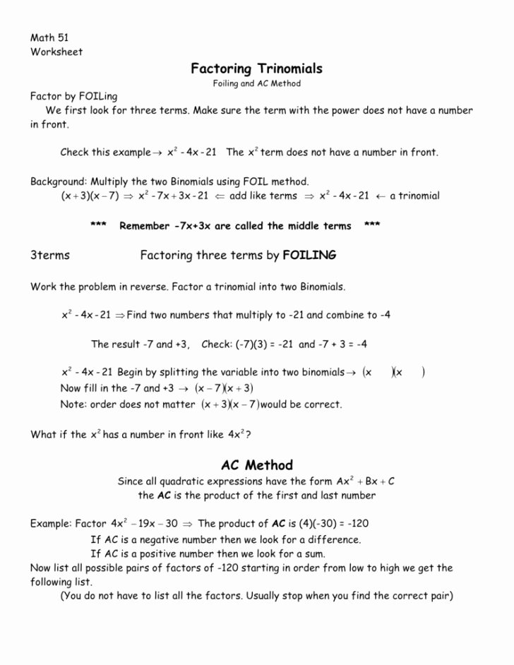 Factoring Ax2 Bx C Worksheet Unique Factoring Trinomials the form Ax2 Bx C Worksheet