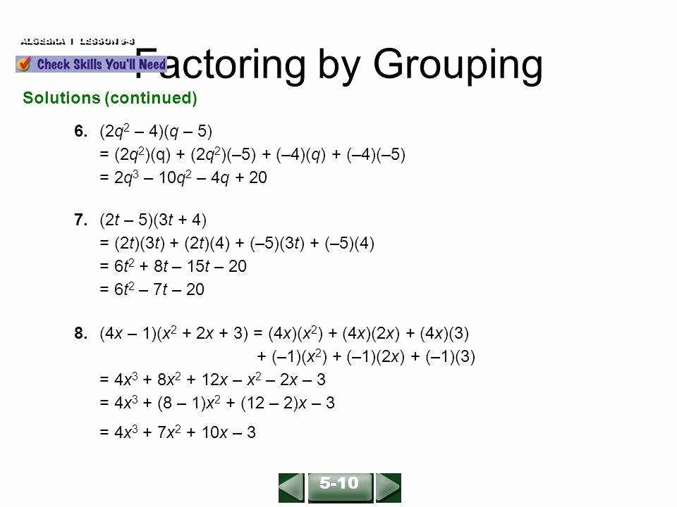 Factoring by Grouping Worksheet Answers Awesome Factor by Grouping Worksheet