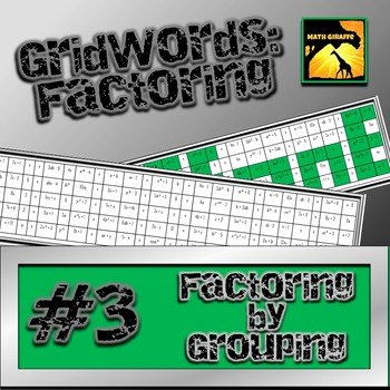 "Factoring by Grouping Worksheet Answers Awesome Factoring Polynomials ""gridwords"" 3 Factoring by"