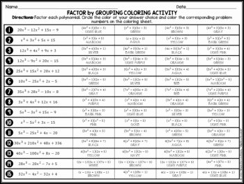 Factoring by Grouping Worksheet Answers Beautiful Factor by Grouping Factoring Polynomials Coloring