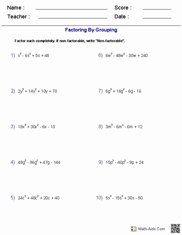 Factoring by Grouping Worksheet Answers Best Of 17 Images About Math Aids On Pinterest