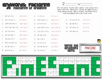 "Factoring by Grouping Worksheet Answers Inspirational Factoring Polynomials ""gridwords"" Full Set by Math"