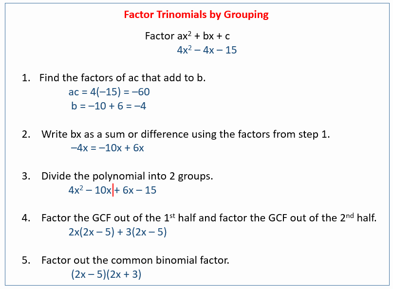 Factoring by Grouping Worksheet Answers New Factoring by Grouping solutions Examples Videos