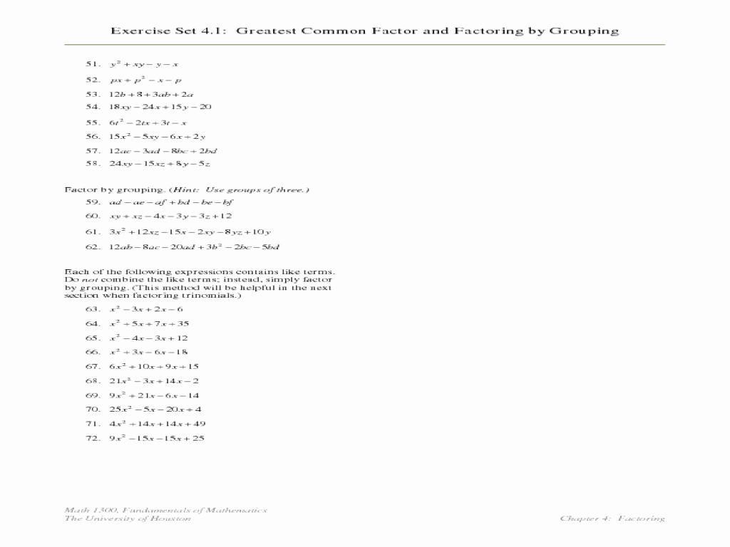 Factoring by Grouping Worksheet Elegant Greatest Mon Factor and Factoring by Grouping Lesson