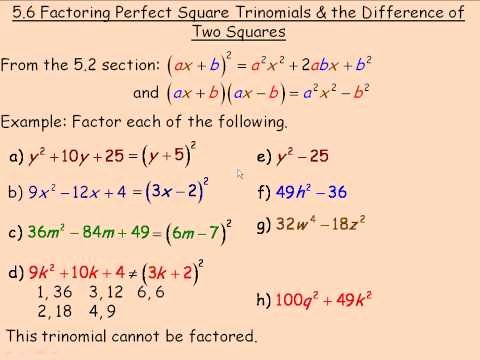 Factoring Difference Of Squares Worksheet Best Of Factoring Perfect Square Trinomials and the Difference Of