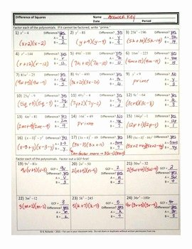 Factoring Difference Of Squares Worksheet Fresh Difference Of Squares Worksheet with Answer Key by Brenda