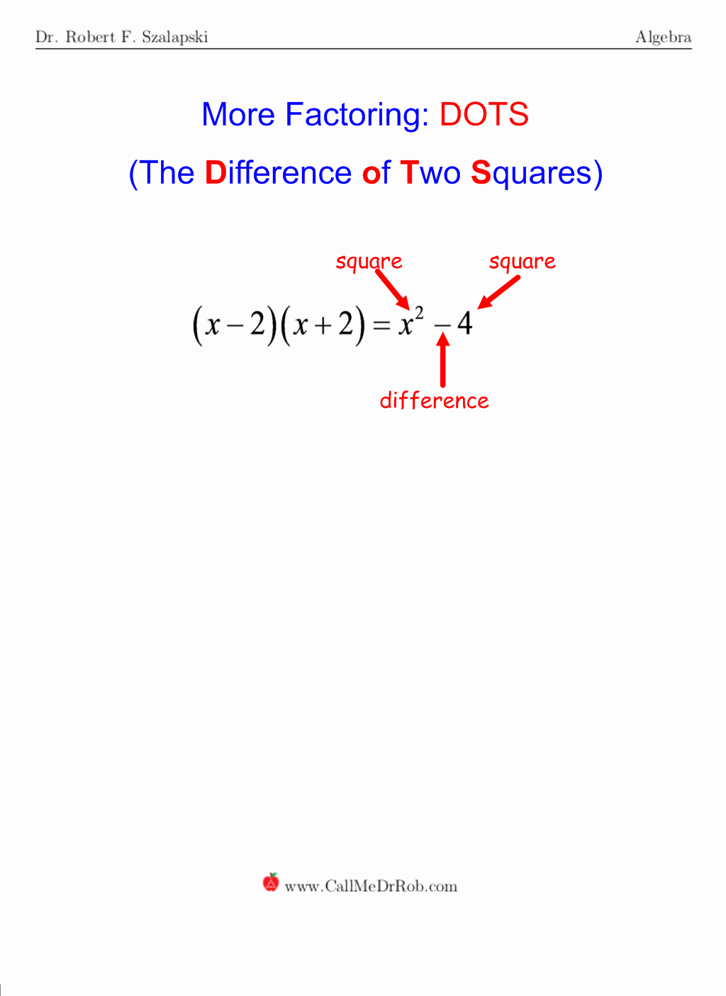 Factoring Difference Of Squares Worksheet Fresh Dots Difference Of Two Squares