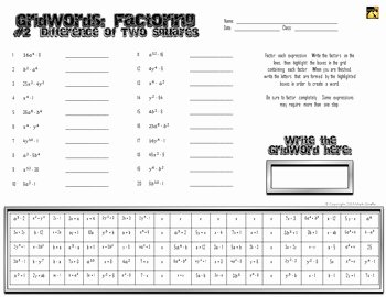 """Factoring Difference Of Squares Worksheet Inspirational Factoring Polynomials """"gridwords"""" 2 Difference Of Two"""
