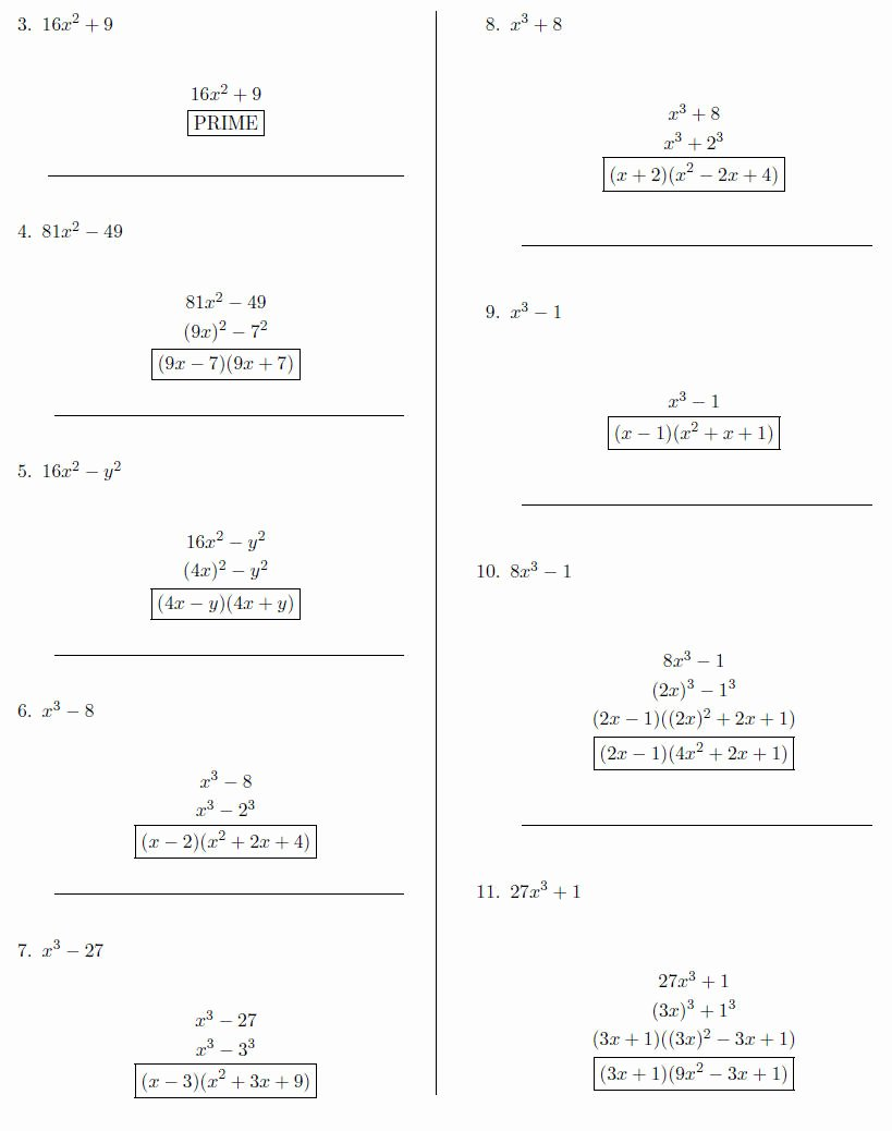 Factoring Difference Of Squares Worksheet New Factoring the Difference Squares Worksheet