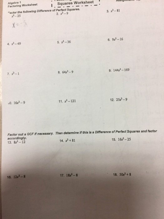 Factoring Difference Of Squares Worksheet Unique solved Algebra 1 Factoring Worksheot I Squares Worksheet