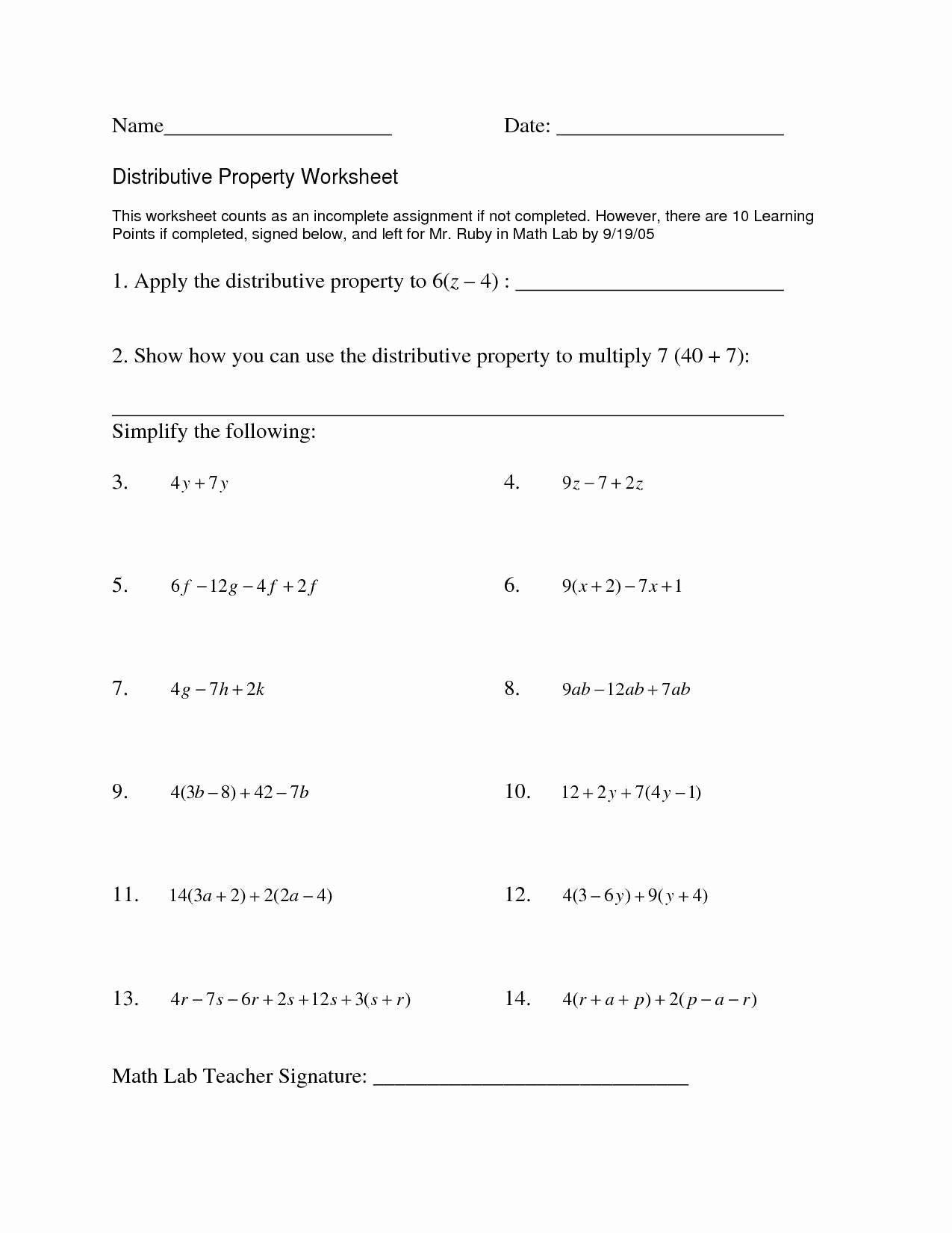 Factoring Distributive Property Worksheet Awesome Distributive Property Worksheet Answers Worksheet Idea