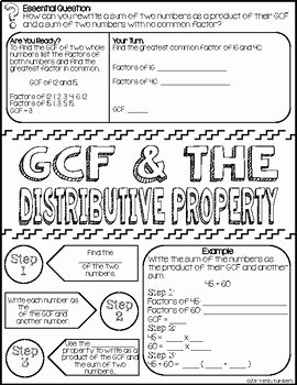 Factoring Distributive Property Worksheet Awesome Greatest Mon Factor & the Distributive Property Doodle