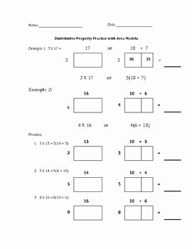 Factoring Distributive Property Worksheet New Distributive Property and Factoring by area Model