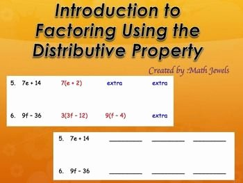 Factoring Distributive Property Worksheet Unique Introduction to Factoring Using the Distributive Property