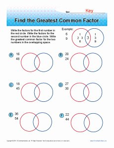 Factoring Greatest Common Factor Worksheet Awesome Find the Greatest Mon Factor