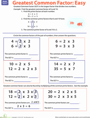 Factoring Greatest Common Factor Worksheet Best Of Greatest Mon Factor Easy Worksheet