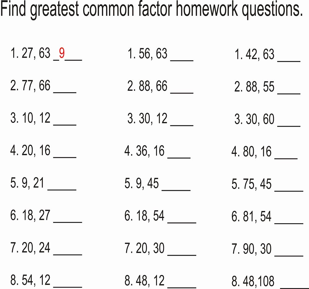 Factoring Greatest Common Factor Worksheet Lovely Greatest Mon Factors Worksheet