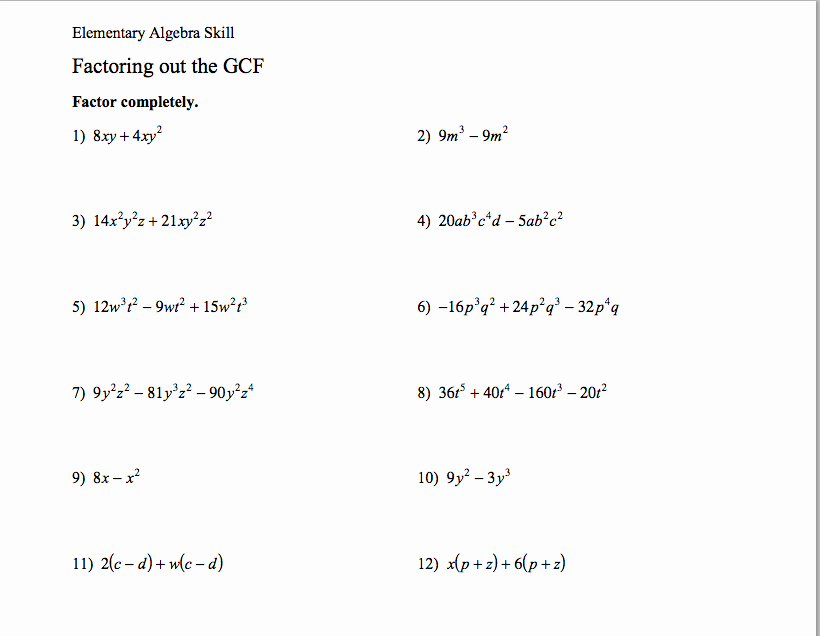 Factoring Greatest Common Factor Worksheet New Homework assignments
