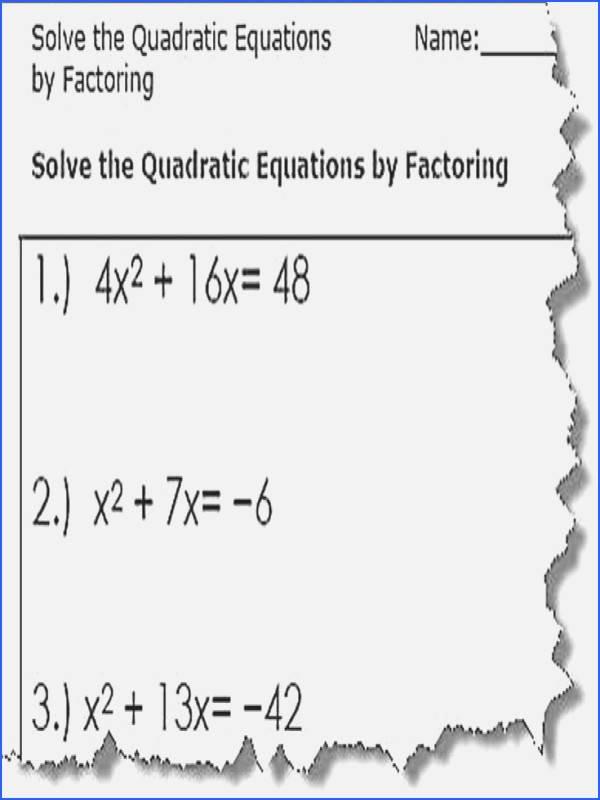 Factoring Linear Expressions Worksheet Beautiful solving Quadratics by Factoring Worksheet