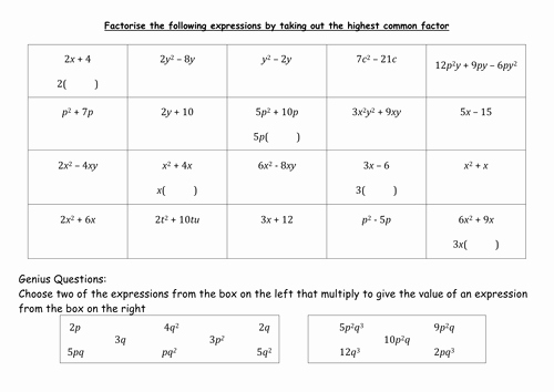 Factoring Linear Expressions Worksheet Best Of Factorising Linear Expressions by Mb5ef