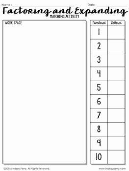 Factoring Linear Expressions Worksheet Elegant Factoring and Expanding Linear Expressions Activity by