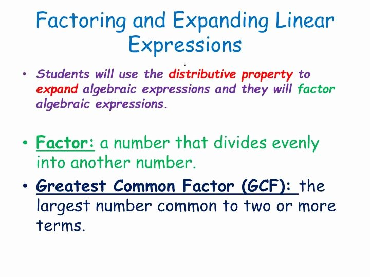 Factoring Linear Expressions Worksheet Lovely Ppt Factoring and Expanding Linear Expressions