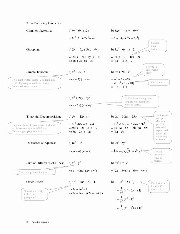 Factoring Polynomials by Grouping Worksheet Fresh 2 1 Factoring Concepts Grouping Worksheet for 9th