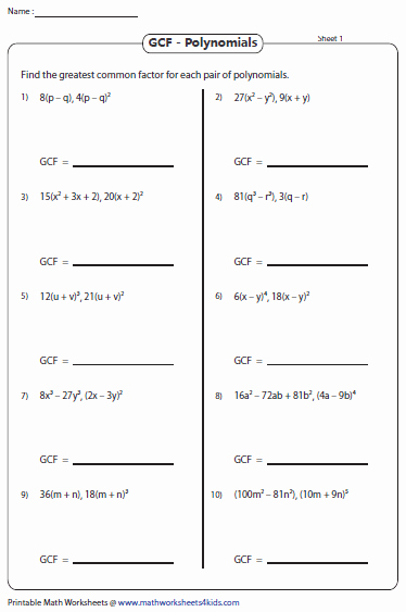 Factoring Polynomials Gcf Worksheet Awesome Greatest Mon Factor Worksheets
