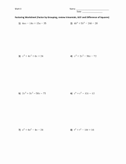 "Factoring Polynomials Gcf Worksheet Beautiful Factoring Trinomials Using the ""ac"" Method"