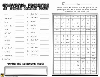 "Factoring Polynomials Gcf Worksheet Fresh Factoring Polynomials ""gridwords"" 1 Gcf Greatest Mon"