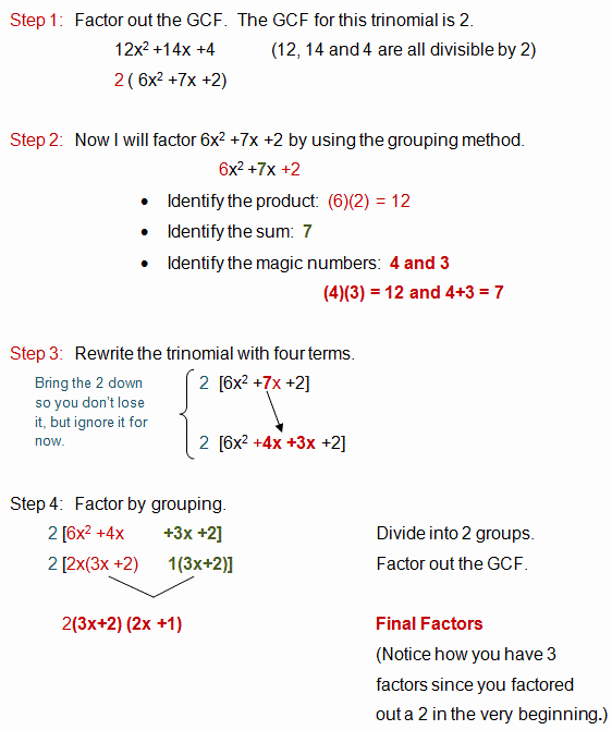 Factoring Polynomials Gcf Worksheet Inspirational Factoring A Trinomial with A Lead Coefficient Greater Than E
