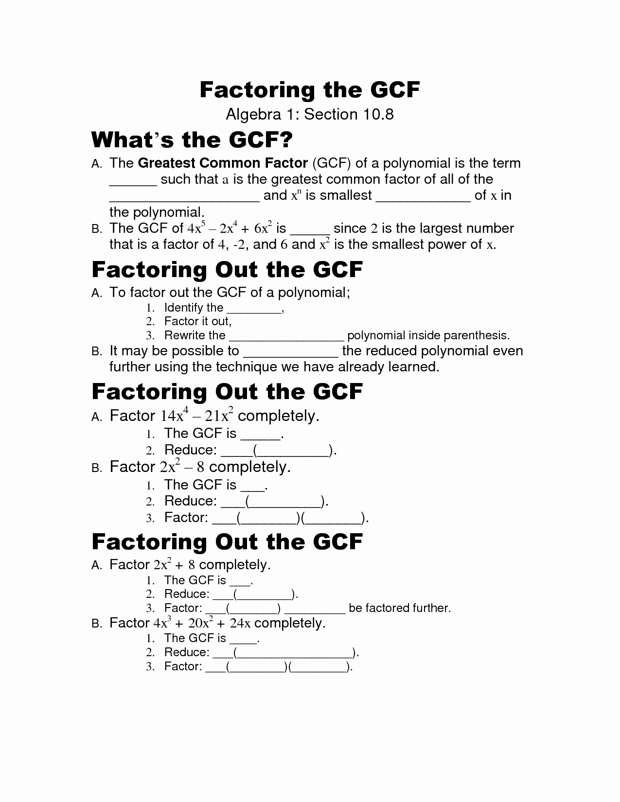 Factoring Polynomials Gcf Worksheet Lovely 16 Best Of Factoring Gcf Worksheet Greatest