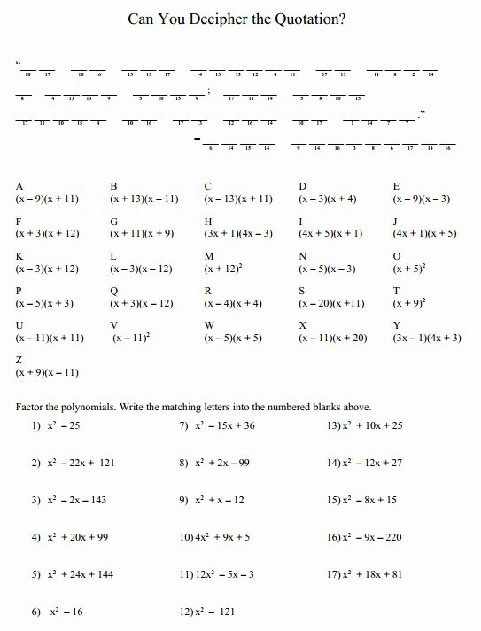 Factoring Polynomials Worksheet with Answers Lovely Factoring Polynomials Worksheet with Answers