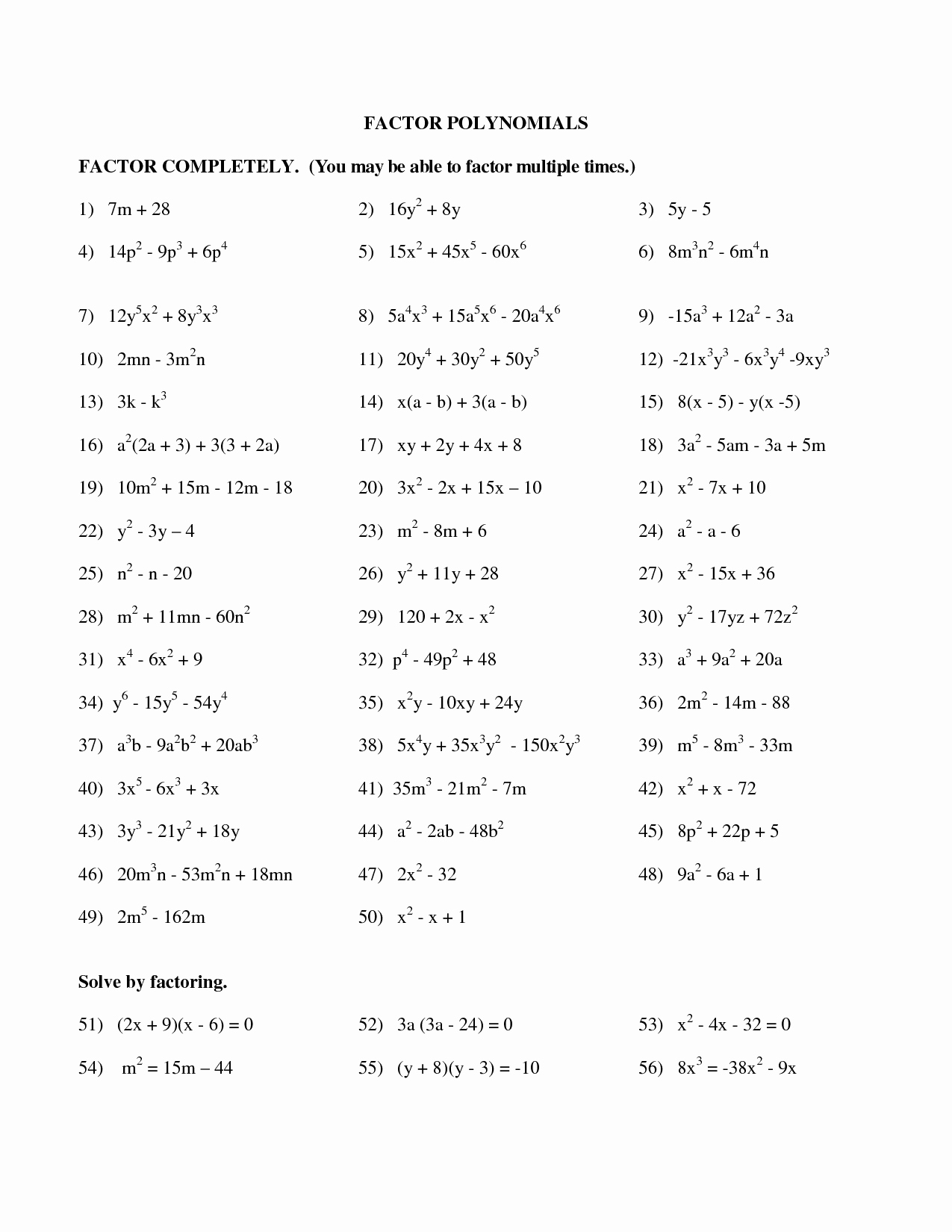 Factoring Polynomials Worksheet with Answers Luxury 10 Best Of Factoring Polynomials Practice Worksheet
