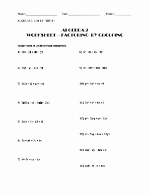 Factoring Polynomials Worksheet with Answers New 44 Algebra Worksheet Section 10 5 Factoring Polynomials