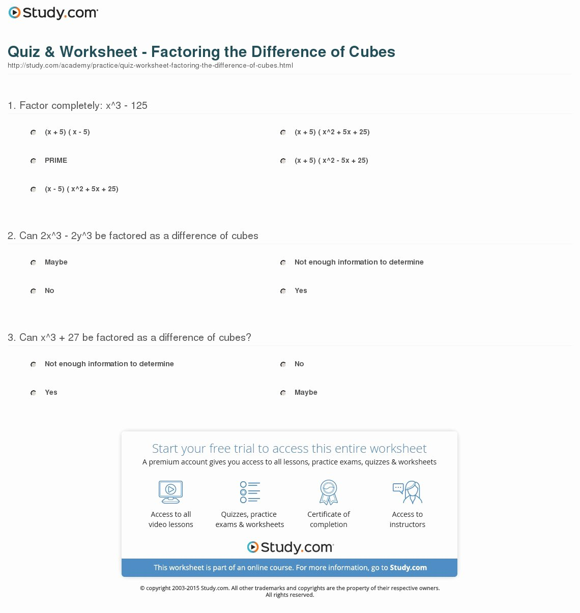 Factoring Practice Worksheet Answers Inspirational Quiz & Worksheet Factoring the Difference Of Cubes