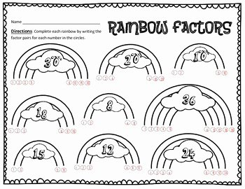 Factoring Practice Worksheet Answers New Factoring Numbers Rainbow Style Practice Worksheet by
